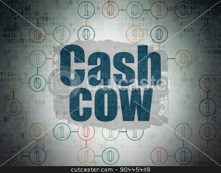 Finance concept: Cash Cow on Digital Paper background stock photo, Finance concept: Painted blue text Cash Cow on Digital Paper background with  Scheme Of Binary Code by mkabakov
