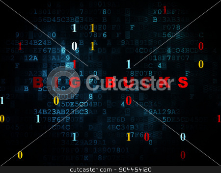 Finance concept: Big bucks on Digital background stock photo, Finance concept: Pixelated red text Big bucks on Digital wall background with Binary Code, 3d render by mkabakov