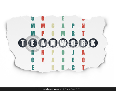 Finance concept: word Teamwork in solving Crossword Puzzle stock photo, Finance concept: Painted black word Teamwork in solving Crossword Puzzle on Torn Paper background, 3d render by mkabakov