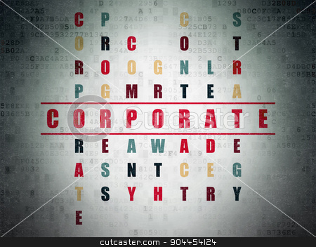 Finance concept: word Corporate in solving Crossword Puzzle stock photo, Finance concept: Painted red word Corporate in solving Crossword Puzzle on Digital Paper background by mkabakov