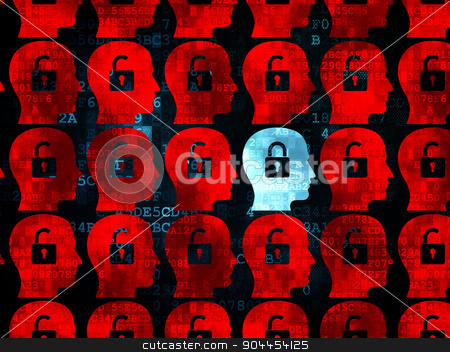 Finance concept: head with padlock icon on Digital background stock photo, Finance concept: rows of Pixelated red head with padlock icons around blue head with padlock icon on Digital background, 3d render by mkabakov