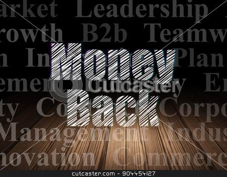 Finance concept: Money Back in grunge dark room stock photo, Finance concept: Glowing text Money Back in grunge dark room with Wooden Floor, black background with  Tag Cloud by mkabakov