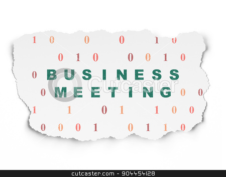Business concept: Business Meeting on Torn Paper background stock photo, Business concept: Painted green text Business Meeting on Torn Paper background with  Binary Code, 3d render by mkabakov