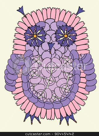 Owl bird made from fresh summer flowers. stock vector clipart, Owl bird made from fresh summer flowers. Abstract isolated collage by Aleksandra Serova