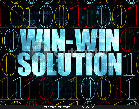 Business concept: Win-win Solution on Digital background stock photo, Business concept: Pixelated blue text Win-win Solution on Digital wall background with Binary Code, 3d render by mkabakov