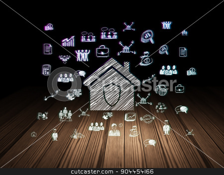 Finance concept: Home in grunge dark room stock photo, Finance concept: Glowing Home icon in grunge dark room with Wooden Floor, black background with  Hand Drawn Business Icons by mkabakov