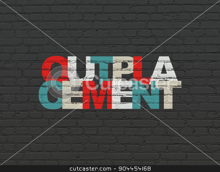 Business concept: Outplacement on wall background stock photo, Business concept: Painted multicolor text Outplacement on Black Brick wall background by mkabakov