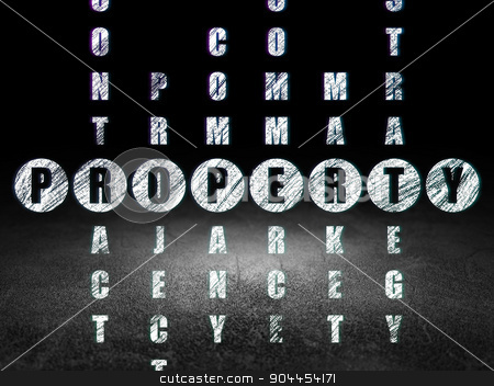 Finance concept: word Property in solving Crossword Puzzle stock photo, Finance concept: Glowing word Property in solving Crossword Puzzle in grunge dark room with Dirty Floor, black background by mkabakov