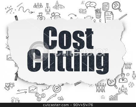 Business concept: Cost Cutting on Torn Paper background stock photo, Business concept: Painted black text Cost Cutting on Torn Paper background with Scheme Of Hand Drawn Business Icons, 3d render by mkabakov