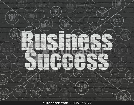 Finance concept: Business Success on wall background stock photo, Finance concept: Painted white text Business Success on Black Brick wall background with Scheme Of Hand Drawn Business Icons by mkabakov