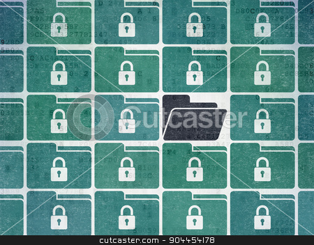 Finance concept: folder icon on Digital Paper background stock photo, Finance concept: rows of Painted blue folder with lock icons around black folder icon on Digital Paper background by mkabakov