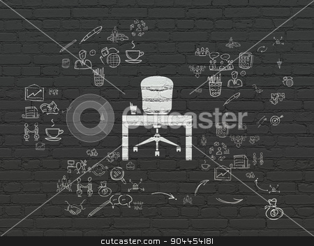 Finance concept: Office on wall background stock photo, Finance concept: Painted white Office icon on Black Brick wall background with Scheme Of Hand Drawn Business Icons by mkabakov