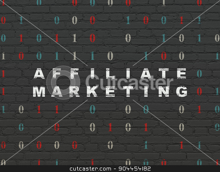 Finance concept: Affiliate Marketing on wall background stock photo, Finance concept: Painted white text Affiliate Marketing on Black Brick wall background with Binary Code by mkabakov