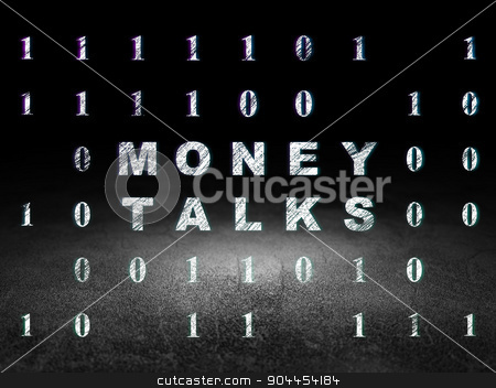 Finance concept: Money Talks in grunge dark room stock photo, Finance concept: Glowing text Money Talks in grunge dark room with Dirty Floor, black background with Binary Code by mkabakov