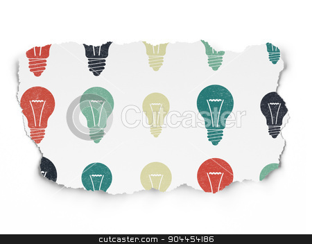 Finance concept: Light Bulb icons on Torn Paper background stock photo, Finance concept: Painted multicolor Light Bulb icons on Torn Paper background, 3d render by mkabakov
