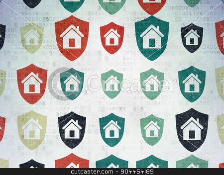 Finance concept: Shield icons on Digital Paper background stock photo, Finance concept: Painted multicolor Shield icons on Digital Paper background by mkabakov