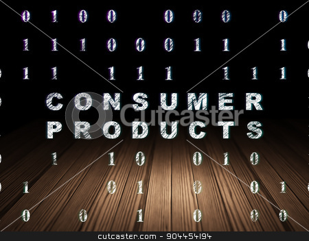 Business concept: Consumer Products in grunge dark room stock photo, Business concept: Glowing text Consumer Products in grunge dark room with Wooden Floor, black background with Binary Code by mkabakov