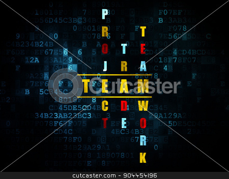 Business concept: word Team in solving Crossword Puzzle stock photo, Business concept: Pixelated yellow word Team in solving Crossword Puzzle on Digital background, 3d render by mkabakov
