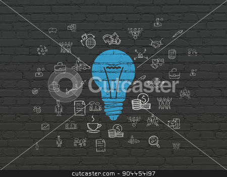 Finance concept: Light Bulb on wall background stock photo, Finance concept: Painted blue Light Bulb icon on Black Brick wall background with  Hand Drawn Business Icons by mkabakov