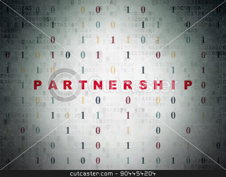 Business concept: Partnership on Digital Paper background stock photo, Business concept: Painted red text Partnership on Digital Paper background with Binary Code by mkabakov