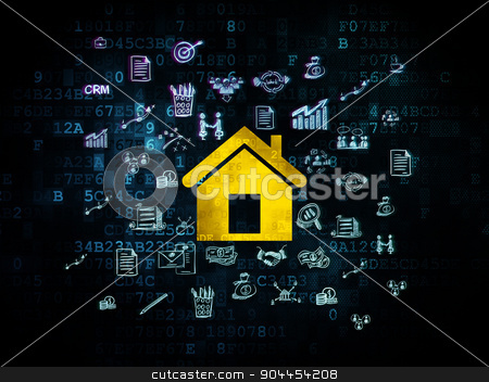 Finance concept: Home on Digital background stock photo, Finance concept: Pixelated yellow Home icon on Digital background with  Hand Drawn Business Icons, 3d render by mkabakov
