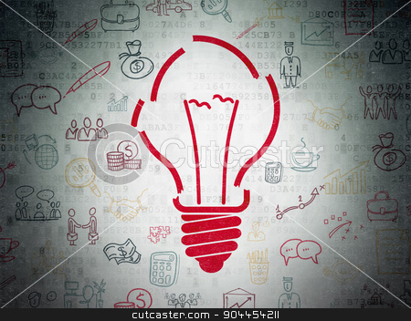 Business concept: Light Bulb on Digital Paper background stock photo, Business concept: Painted red Light Bulb icon on Digital Paper background with  Hand Drawn Business Icons by mkabakov