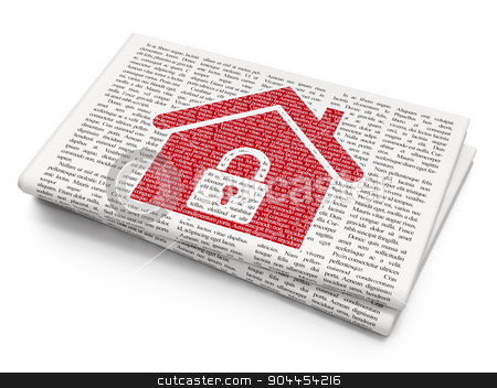 Business concept: Home on Newspaper background stock photo, Business concept: Pixelated  Home icon on Newspaper background, 3d render by mkabakov