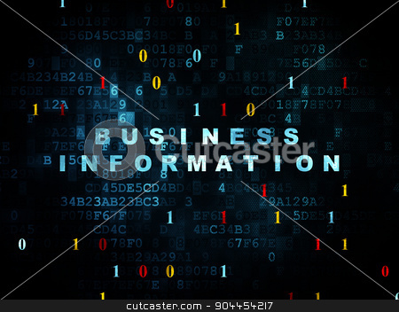 Finance concept: Business Information on Digital background stock photo, Finance concept: Pixelated blue text Business Information on Digital wall background with Binary Code, 3d render by mkabakov