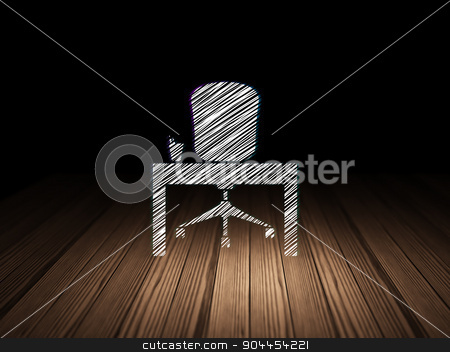 Finance concept: Office in grunge dark room stock photo, Finance concept: Glowing Office icon in grunge dark room with Wooden Floor, black background by mkabakov