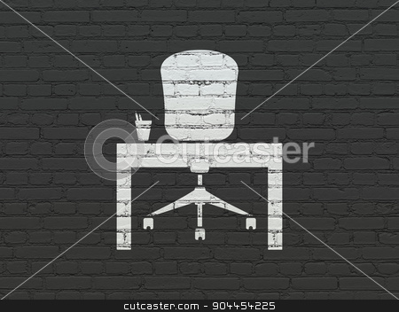 Business concept: Office on wall background stock photo, Business concept: Painted white Office icon on Black Brick wall background by mkabakov
