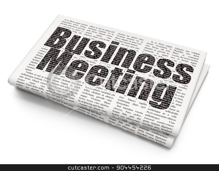 Finance concept: Business Meeting on Newspaper background stock photo, Finance concept: Pixelated  Business Meeting icon on Newspaper background, 3d render by mkabakov
