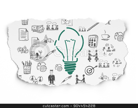 Finance concept: Light Bulb on Torn Paper background stock photo, Finance concept: Painted green Light Bulb icon on Torn Paper background with  Hand Drawn Business Icons, 3d render by mkabakov
