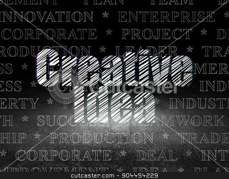Business concept: Creative Idea in grunge dark room stock photo, Business concept: Glowing text Creative Idea in grunge dark room with Dirty Floor, black background with  Tag Cloud by mkabakov