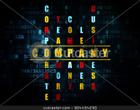 Business concept: word Company in solving Crossword Puzzle stock photo, Business concept: Pixelated yellow word Company in solving Crossword Puzzle on Digital background, 3d render by mkabakov