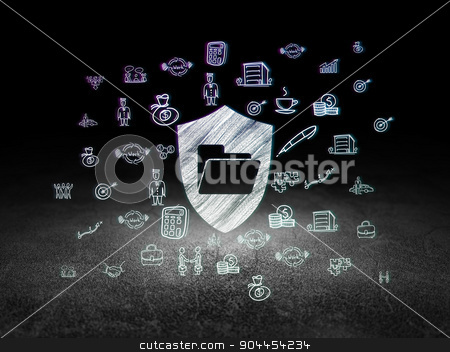 Finance concept: Folder With Shield in grunge dark room stock photo, Finance concept: Glowing Folder With Shield icon in grunge dark room with Dirty Floor, black background with  Hand Drawn Business Icons by mkabakov
