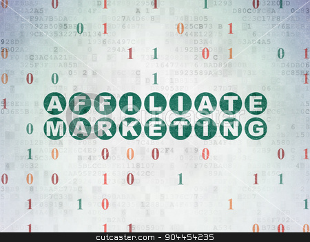 Finance concept: Affiliate Marketing on Digital Paper background stock photo, Finance concept: Painted green text Affiliate Marketing on Digital Paper background with Binary Code by mkabakov