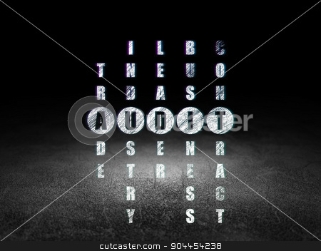 Business concept: word Audit in solving Crossword Puzzle stock photo, Business concept: Glowing word Audit in solving Crossword Puzzle in grunge dark room with Dirty Floor, black background by mkabakov