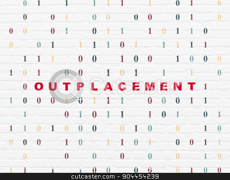 Finance concept: Outplacement on wall background stock photo, Finance concept: Painted red text Outplacement on White Brick wall background with Binary Code by mkabakov