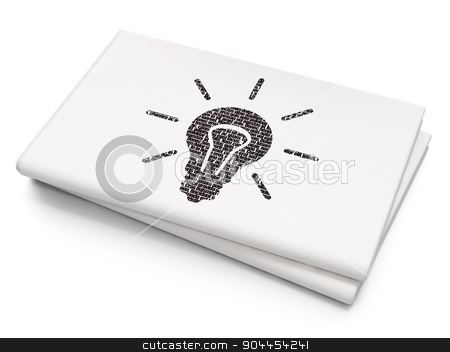 Business concept: Light Bulb on Blank Newspaper background stock photo, Business concept: Pixelated  Light Bulb icon on Blank Newspaper background, 3d render by mkabakov