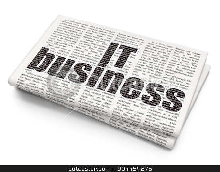 Business concept: IT Business on Newspaper background stock photo, Business concept: Pixelated  IT Business icon on Newspaper background, 3d render by mkabakov