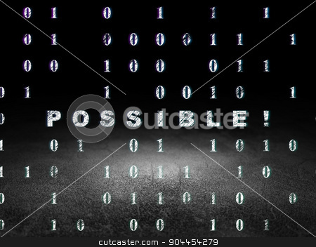 Finance concept: Possible! in grunge dark room stock photo, Finance concept: Glowing text Possible! in grunge dark room with Dirty Floor, black background with Binary Code by mkabakov