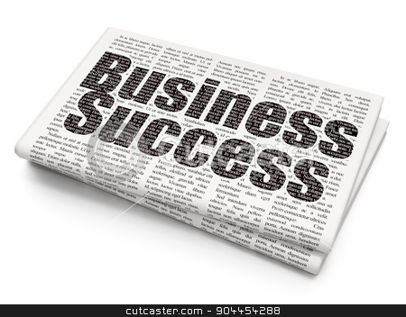 Business concept: Business Success on Newspaper background stock photo, Business concept: Pixelated  Business Success icon on Newspaper background, 3d render by mkabakov