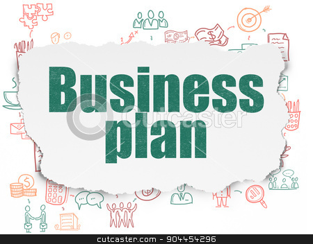 Business concept: Business Plan on Torn Paper background stock photo, Business concept: Painted green text Business Plan on Torn Paper background with Scheme Of Hand Drawn Business Icons, 3d render by mkabakov