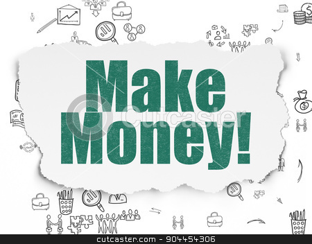Finance concept: Make Money! on Torn Paper background stock photo, Finance concept: Painted green text Make Money! on Torn Paper background with Scheme Of Hand Drawn Business Icons, 3d render by mkabakov
