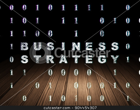 Business concept: Business Strategy in grunge dark room stock photo, Business concept: Glowing text Business Strategy in grunge dark room with Wooden Floor, black background with Binary Code by mkabakov