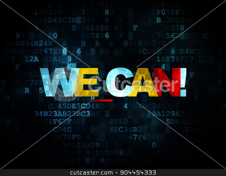 Finance concept: We can! on Digital background stock photo, Finance concept: Pixelated multicolor text We can! on Digital background, 3d render by mkabakov