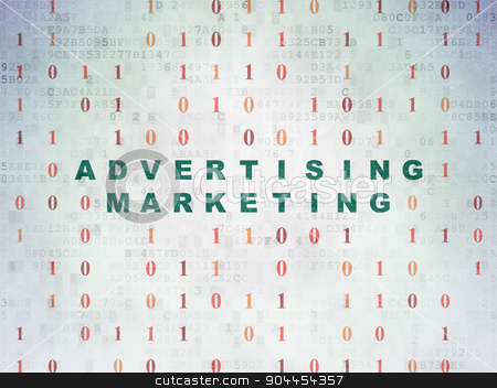 Finance concept: Advertising Marketing on Digital Paper background stock photo, Finance concept: Painted green text Advertising Marketing on Digital Paper background with Binary Code by mkabakov