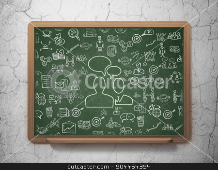 Business concept: Business Meeting on School Board background stock photo, Business concept: Chalk Green Business Meeting icon on School Board background with  Hand Drawn Business Icons, 3d render by mkabakov