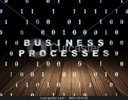 Business concept: Business Processes in grunge dark room stock photo, Business concept: Glowing text Business Processes in grunge dark room with Wooden Floor, black background with Binary Code by mkabakov