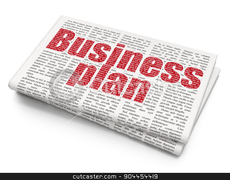 Business concept: Business Plan on Newspaper background stock photo, Business concept: Pixelated  Business Plan icon on Newspaper background, 3d render by mkabakov